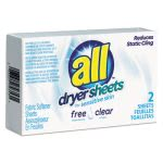 all-free-clear-vend-pack-dryer-sheets-2-sheets-box-100-boxes-ven2979353