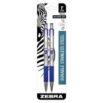 Zebra F-301 Retractable Ballpoint Pen, Blue In, Fine, 2 per Pack (ZEB27122)