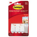 Command General Purpose Hooks, Plastic, White, 3 Hooks & 4 Strips (MMM17066ES)