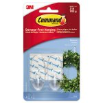 Command Clear Hooks & Strips, Med., 2 Hooks w/4 Adhesive Strips (MMM17091CLRES)