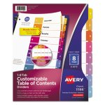 Avery Ready Index Contents Divider, 1-8, Multicolor, Letter, 6 Sets (AVE11186)
