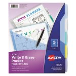 Avery Translucent Multicolor Write-On Dividers, 5-Tab, Letter, 1 Set (AVE16176)
