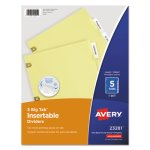 Avery WorkSaver Big Tab Dividers, Clear Tabs, 5-Tab, Letter, Buff (AVE23281)