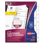 Avery Ready Index Classic Tab Titles, 1-5, Black/White, 5 Tabs (AVE11130)