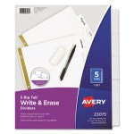 Avery Big Tab Write & Erase Laminated Dividers, 5 Dividers (AVE23075)
