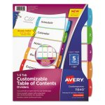 Avery Table of Contents Dividers, Multicolor Tabs, 1-5, 5 Dividers (AVE11840)