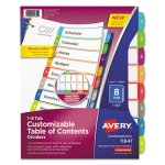 Avery Table of Contents Dividers, Multicolor Tabs, 1-8, 8 Dividers (AVE11841)