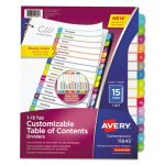 Avery Table of Contents Dividers, Multicolor Tabs, 1-15, 15 Dividers (AVE11845)