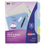 Avery Translucent Multicolor Write-On Dividers, 5-Tab, Letter, 1 Set (AVE16170)