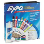 Expo Low-Odor Dry Erase Marker, Eraser & Cleaner, Chisel/Fine, 12/Set (SAN80054)