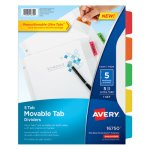 Avery Dividers w/ Movable Tabs, 5-Tab, Multicolor, 11 x 8 1/2, 1 Set (AVE16750)