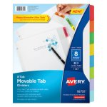 Avery Dividers with Movable Tabs, 8-Tab, Multicolor Tabs, 11 x 8 1/2 (AVE16751)