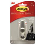 Command Adhesive Mount Metal Hook, Medium, Brushed Nickel Finish (MMMFC12BNES)