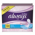 Always Dailies Thin Liners, Regular, 120 Liners/Pack, 6 Packs/Carton (PGC10796)