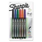 Sharpie Permanent Water Resistant Pen, Fine, Assorted, 6 Pens (SAN1976527)