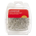 universal-colored-push-pins-plastic-clear-38-100pack-unv31304