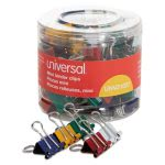 "Universal Mini Binder Clips, 1/4"" Capacity, Assorted Colors, 60 Clips (UNV31027)"