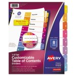 Avery Index Contemporary Table of Contents Divider, 1-8, Multi (AVE11133)