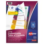 Avery Index Table/Contents Dividers, 5-Tab, Letter, Assorted, 5/Set (AVE11816)