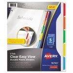 Avery Clear View Dividers with Sheet Protector, Letter, 5 Dividers (AVE16740)