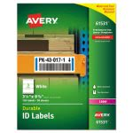 Avery 61531 Durable ID Labels, White, 3-1/4  x 8-3/8, 150 Labels (AVE61531)