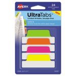 Avery Repositionable Tabs, 2.5 x 1, Assorted Neon Colors, 24 Tabs (AVE74767)