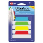Avery Repositionable Tabs, 2.5 x 1, Assorted Primary Colors, 24 Tabs (AVE74768)