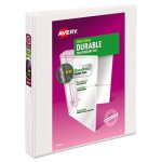 "Avery Durable Vinyl Slant D Ring Binder, 1"" Exp. Capacity, White (AVE17012)"