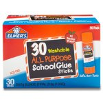 Elmer's Washable All Purpose School Glue Sticks, Clear, 30 Sticks (EPIE556)