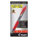 Pilot G2 Gel Roller Ball Pen, Refillable, 0.7mm Fine, Red, 12 Pens (PIL31022)
