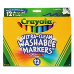 Crayola Washable Markers, Broad Point, Classic Colors, 12/Set (CYO587812)