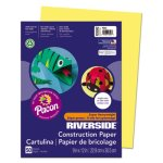 Pacon Riverside Construction Paper, 9 x 12, Yellow, 50 Sheets (PAC103592)
