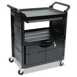Rubbermaid 345700 2-Shelf Utility Cart w/Locking Doors, Black (RCP345700BLA)