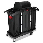 rubbermaid-9t78-high-security-compact-housekeeping-cart-black-rcp9t78