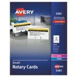 Avery Laser/Inkjet Rotary Cards, 2 1/6 x 4, 8 Cards/Sht, 400 Cards/Box (AVE5385)