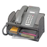Safco Onyx Angled Mesh Steel Telephone Stand, 11.75 x 9.25 x 7, Blk (SAF2160BL)