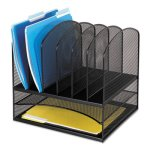 Safco Desk Organizer, 8 Sections, Steel, 13 1/2 x 11 3/8 x 13, Black (SAF3255BL)