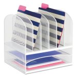 Safco Mesh Desk Organizer, Eight Sections, Steel, White (SAF3255WH)