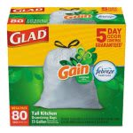 Glad 13 Gallon White Garbage Bags, 24x27, 0.95 mil, 240 Bags (CLO78900)