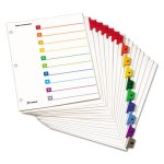 Cardinal Traditional Index System, 10-Tab, 1-10, Assorted, 6 Sets (CRD61028)