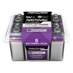 Rayovac Lithium Batteries, 9 Volt Battery, 8 Batteries (RAYR9VL8G)