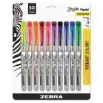 Zebra Zazzle Brights Hghlghtr, Chisel Tip, Assorted Colors, 10/Set (ZEB71111)