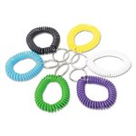 universal-wrist-coil-plus-key-ring-plastic-assorted-colors-6-pack-unv56051