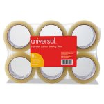 "Universal Heavy-Duty Box Sealing Tape, 2"" x 55 yards, 3"" Core, 6/Box (UNV93000)"