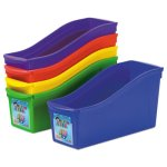 Storex Interlocking Book Bins, 4 3/4 x 12 5/8 x 7, 5 Color Set (STX70105U06C)