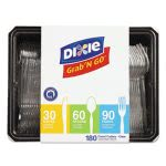 Dixie Tray w/Plastic Utensils, 90 Forks, 30 Knives, 60 Spoons (DXECH0369DX7PK)