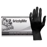 Hospeco GrizzlyNite Nitrile Gloves, Black, X-Large, 1000 Gloves (HOSGLN105FX)