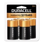 Duracell Alkaline Batteries with Duralock Technology, D, 4/Pack (DURMN1300R4Z)
