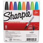 Sharpie Permanent Markers, Fine Point, Assorted, 8/Set (SAN30078)