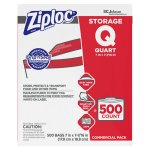 Ziploc Double Zipper 1 Quart Food Storage Bags, 500 Bags (SJN682256)